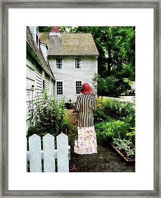 Woman With Striped Jacket And Flowered Skirt Framed Print by Susan Savad