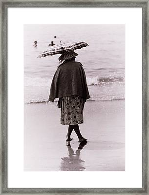 Woman With Sun Umbrella Framed Print by Nat Herz