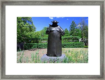 Woman With The Birds Framed Print