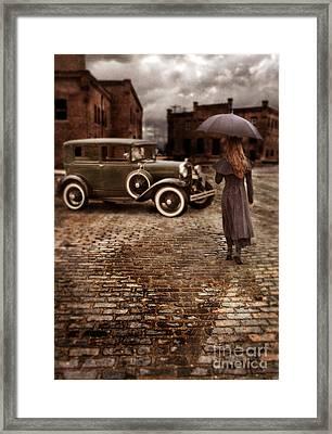 Woman With Umbrella By Vintage Car Framed Print by Jill Battaglia
