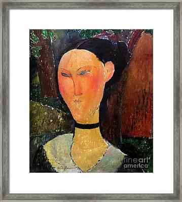 Woman With Velvet Neckband, Femme Au Ruban De Velours, By Amedeo Framed Print