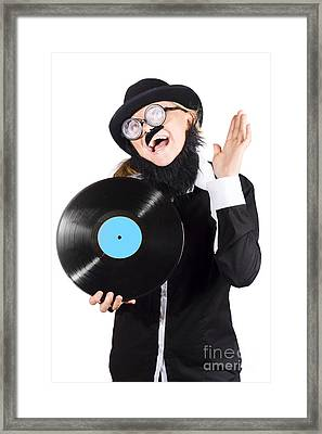 Woman With Vinyl Record Over White Background Framed Print by Jorgo Photography - Wall Art Gallery