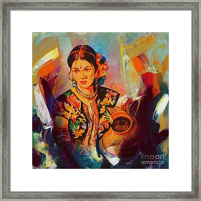 Woman With Water Pot Painting Framed Print