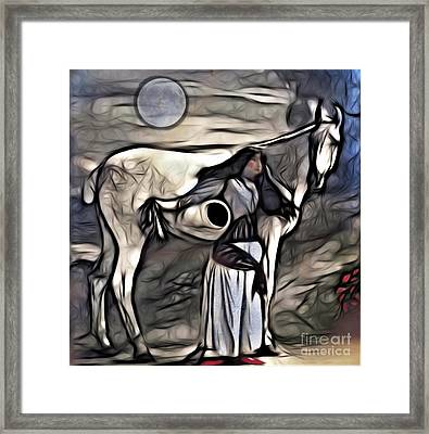 Framed Print featuring the digital art Woman With White Horse by Alexis Rotella