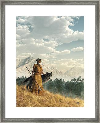 Woman With Wolf Framed Print by Daniel Eskridge