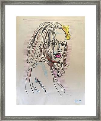 Woman With Yellow Flower Framed Print by Alejandro Lopez-Tasso