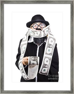 Woman Wrapped In Money Framed Print by Jorgo Photography - Wall Art Gallery