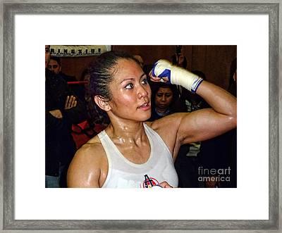 Woman's Boxing Champion Filipino American Ana Julaton On The Speed Bag Framed Print by Jim Fitzpatrick