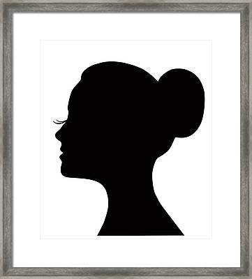 Woman's Face With Long Lashes And Neat Bun Framed Print