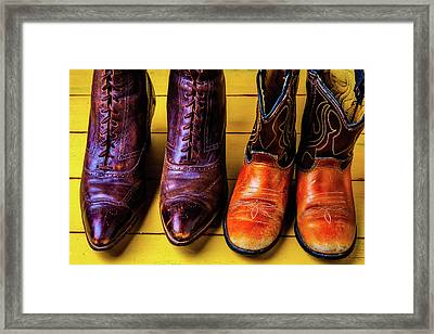 Women And Childrens Boots Framed Print