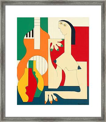 Women And Music Framed Print by Hildegarde Handsaeme