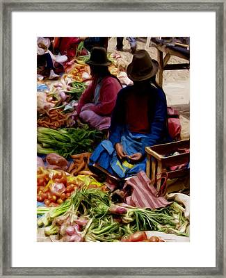 Framed Print featuring the painting Women At The Market by Shelley Bain