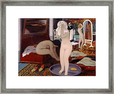 Women At Their Toilet Framed Print by Felix Edouard Vallotton