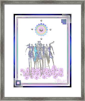 Women Chanting - Pink Full Moon 2017 Framed Print