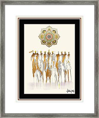 Women Chanting Mandala Framed Print