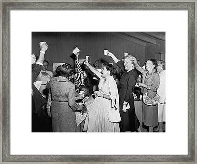 Women Cheering And Toasting Framed Print