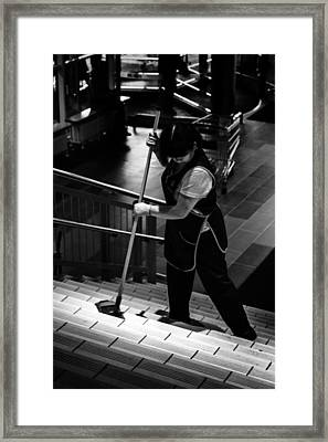Women Cleans Steps In Mega Store Ufa Russia 2015 Framed Print