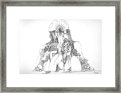Framed Print featuring the drawing Women Heads And A Rock by Padamvir Singh