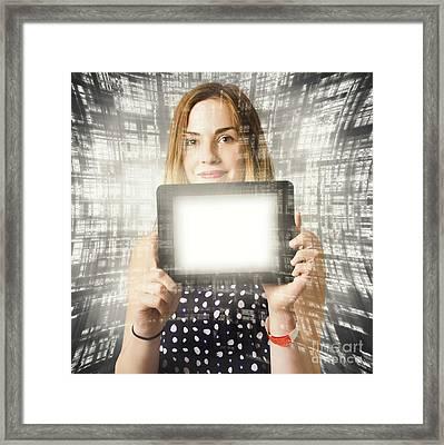 Women Holding Tablet Technology Framed Print