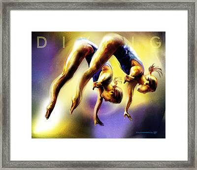 Women In Sports - Tandom Diving Framed Print