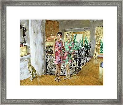 Women In Sunroom Framed Print