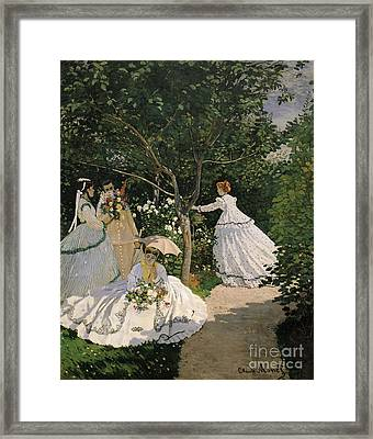 Women In The Garden Framed Print