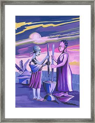 Framed Print featuring the painting Women Pounding Cassava by Emmanuel Baliyanga