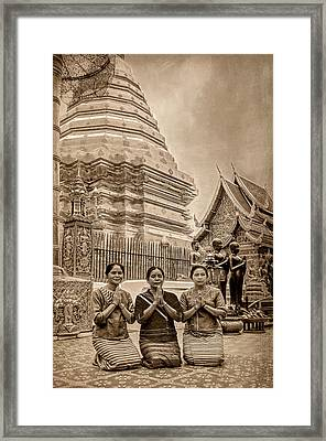 Women Praying Framed Print by Maria Coulson