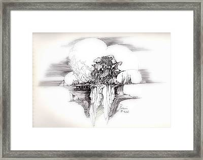Women Rocks And Clouds Framed Print by Padamvir Singh