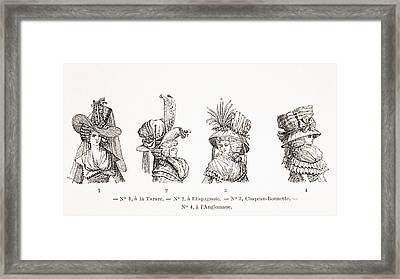 Women S Hat Styles Of The 18th Century Framed Print by Vintage Design Pics