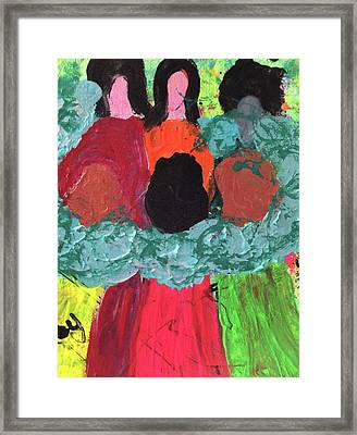 Women Together With Teal Framed Print by Annette McElhiney