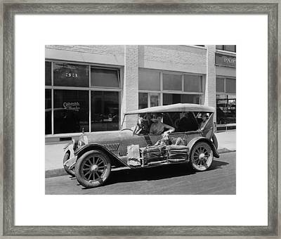 Women Traveling In A 1919 Car Framed Print