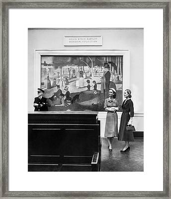 Women View Seurat Painting In Museum Framed Print by Horst P Horst