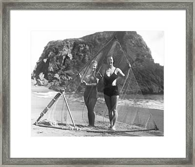 Women With Surf Fishing Net Framed Print