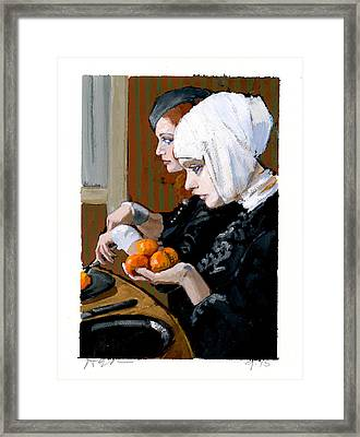 Women With Tangerines Framed Print