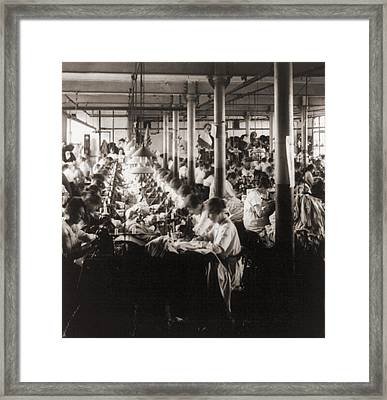 Women Working At Sewing Machines Framed Print by Everett