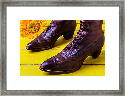 Womens Antique Boots Framed Print