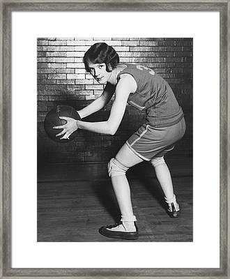 Women's Basketball Champions Framed Print by Underwood Archives