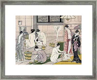 Women's Bathhouse Framed Print by Torii Kiyonaga