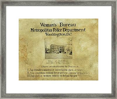 Women's Bureau House Of Detention Poster 1921 Framed Print by Anthony Murphy