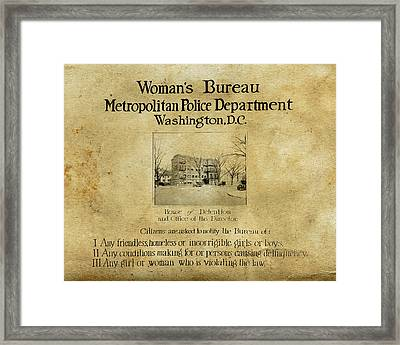 Women's Bureau House Of Detention Poster 1921 Framed Print by Tony Murphy