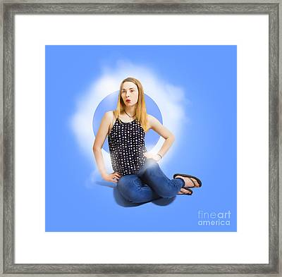 Womens Fashion Pinup Model On Blue Studio Lights Framed Print by Jorgo Photography - Wall Art Gallery