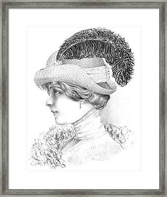 Women's Fashion Plate Depicting Hat By Robert Funke, Sketch, 1910 Framed Print