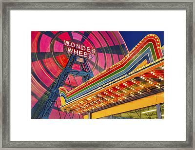 Wonder Wheel At Coney Island Framed Print by Susan Candelario