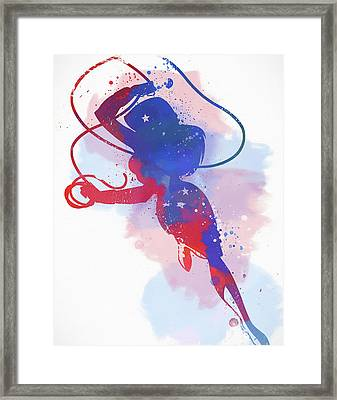 Wonder Woman Watercolor Framed Print