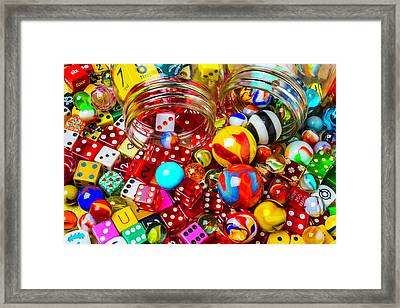 Wonderful Colored Marbles And Dice Framed Print by Garry Gay