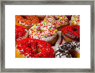 Wonderful Fresh Donuts Framed Print by Garry Gay