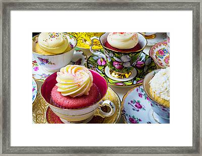 Wonderful Tea Cups With Cupcakes Framed Print