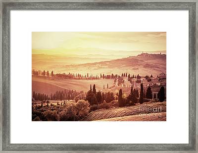 Wonderful Tuscany Landscape With Cypress Trees, Farms And Small Medieval Towns, Italy. Vintage Sunset Framed Print