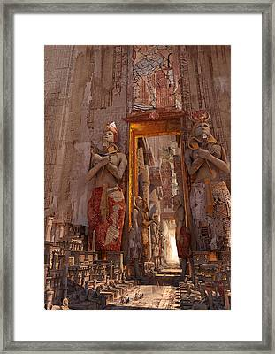 Framed Print featuring the digital art Wonders Door To The Luxor by Te Hu
